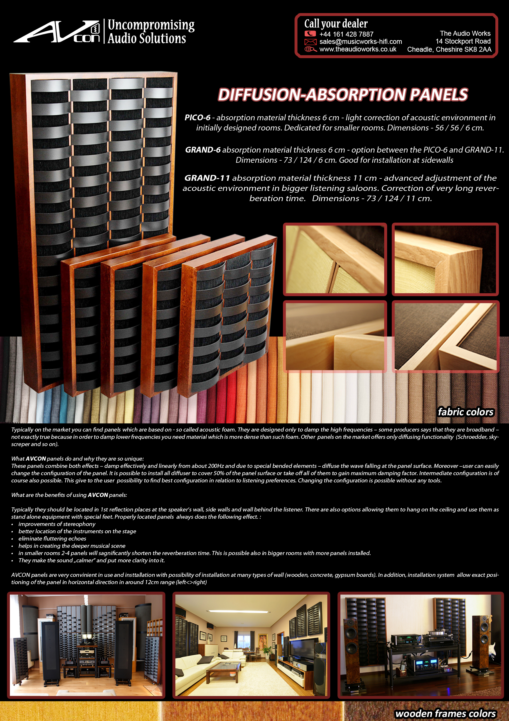 AVCON - acoustic panels - Audioworks - full pa ge 1 - czarne t³o - call dealer na czarnym